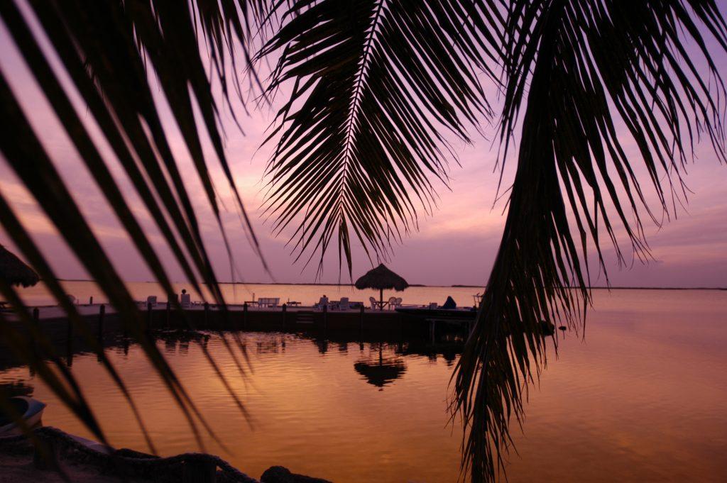 Sunset in Key Largo, Florida Keys, paints a pretty picture at the Kona Kai Resort. Photo by Bob Krist/Florida Keys News Bureau